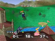 Castillo Peach Luchando Luigi SSBM