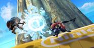 Greninja y Marth en la Isla de Pilotwings SSB4 (Wii U)