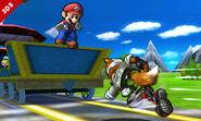 Fox corriendo en las vias del Tren de los Dioses SSB4 (3DS)