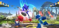 Mario Mega Man y Sonic en Campo de Batalla SSB4 (Wii U)