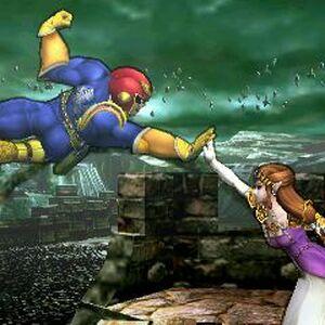 Captain Falcon y Zelda en el Bosque Génesis SSB4 (3DS).jpg