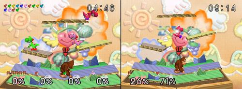 A la izquierda, la versión del Modo 1P Game; a la derecha, la versión normal.