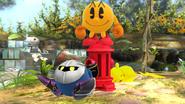 Pac-Man, Pikachu y Meta Knight en el Vergel de la esperanza SSB4 (Wii U)