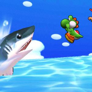 Yoshi junto a Diddy Kong y Pikachu en la playa de la Isla Tórtimer SSB4 (3DS).png