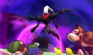 Darkrai junto a Luigi y Donkey Kong en Isla Tortimer SSB4 (3DS)