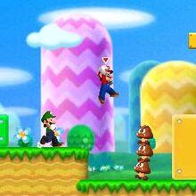 Mario y Luigi en un nivel de New Super Mario Bros 2.jpg