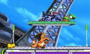 Charizard, Pikachu, Greninja y Yoshi en la Torre Prisma SSB4 (3DS)