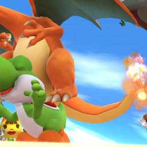 Charizard haciendo un salto banqueta sobre Yoshi SSB4 (Wii U).png