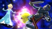 Estela atacando a Lucina en Mario Galaxy SSB4 (Wii U)