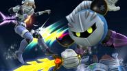 Meta Knight atacando a Sheik en el Castillo del Dr. Willy SSB4 (Wii U)