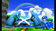 Mega Man junto a Metagross SSB4 (3DS)