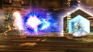 Fox utilizando el reflector para devolver un disparo a Samus SSB4 (Wii U)