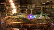 Bowser y Samus luchando en un escenario SSB4 (Wii U)