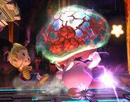 Metroide atacando a Kirby SSBB