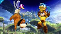El Dúo Duck Hunt junto Mega Man ayudado por Beat SSB4 (Wii U)
