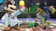 Dr. Mario, Captain Falcon y Little Mac en el Cuadrilátero SSB4 (Wii U)
