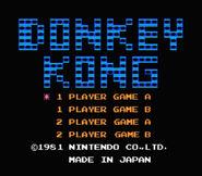 Pantalla de titulo de Donkey Kong (NES)