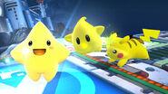 Starfy junto a Destello y Pikachu en el Castillo del Dr. Wily SSB4 (Wii U)
