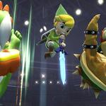 Yoshi usando Pisotón junto a Bowser y su Bomba Bowser y Toon Link con su aéreo hacia abajo SSB4 (Wii U).png
