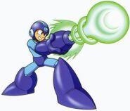 Artwork de Mega Man usando el Mega cañon en Mega Man 9