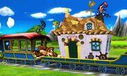 Greninja, Marth, Donkey Kong y Toon Link en el Tren de los Dioses SSB4 (3DS)