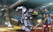 Captain Falcon metálico y Marth en el Coliseo de Regna Ferox SSB4 (3DS)