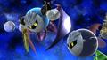 Meta Knight volando junto a Kirby en Galaxia Mario SSB4 (Wii U)