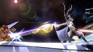 Corrin atacando a Bowser en la Estacion Espacial SSB4 (Wii U)