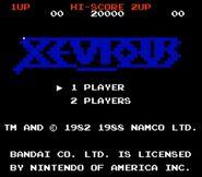Pantalla de titulo de Xevious (NES)