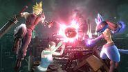 Cloud, Lucario y la Entrenadora de Wii Fit en Midgar SSB4 (Wii U)