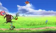 Yoshi y algunos enemigos en Smashventura SSB4 (3DS)