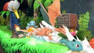 Squirtle, Ivysaur y Charizard en El gran ataque de las cavernas SSBU
