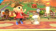 Aldeano junto a un CD SSB4 (Wii U)