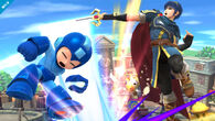 Marth atacando a Mega Man con un Tajo Delfin - (SSB. for Wii U)