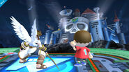 Pit y el Aldeano en el Castillo del Dr. Willy, mirando hacia donde está el Yellow Devil SSB4 (Wii U)