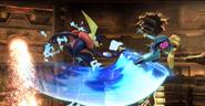 Samus Zero y Greninja en Pirosfera SSB4 (Wii U)