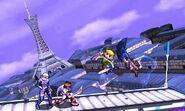 Sheik, Toon Link, Pit y Marth en la Torre Prisma SSB4 (3DS) (2)