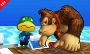 Donkey Kong junto al Capitán en la Isla Tórtimer SSB4 (3DS)