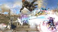 Corrin, Ganondorf, Samus Zero y Lucina en el Coliseo SSB4 (Wii U)