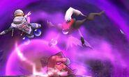 Darkrai junto a Sheik y Little Mac en el Campo de batalla SSB4 (3DS)