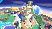 Ámbar y Palutena en Sobrevolando al pueblo SSB4 (Wii U)