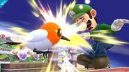 Fletchling atacando a Luigi SSB4 (Wii U)