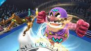 Wario Man atacando a Samus en el Ring de Boxeo SSB4 (Wii U)