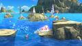 Olimar, Kirby y Aldeano en las Islas Wuhu SSB4 (Wii U)