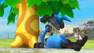 Lucario bajo un árbol del Aldeano en Altárea SSB4 (Wii U)