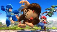 Mega Man, DK, Link y Mario en el campo de batalla SSB4 (Wii U)