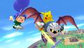 Pikachu, Aldeano y Meta Knight en Sobrevolando el pueblo SSB4 (Wii U)