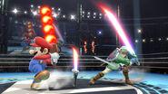 Link con la Espada laser y Mario con la Barrera de fuego SSB4 (Wii U)