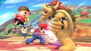 Aldeano y Mario atacando a Bowser SSB4 (Wii U)
