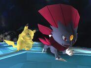 Pikachu aturdido por Weavile SSBB